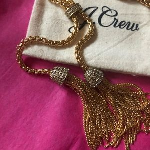 NWT pave tassel chain necklace